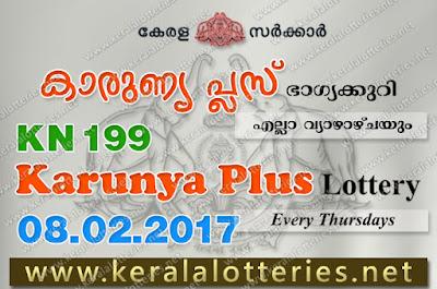 Kerala Lottery Results  8-Feb-2018 Karunya Plus KN-199 www.keralalotteries.net