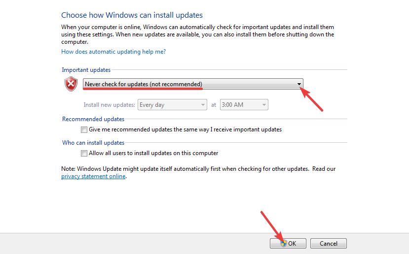 nonaktif windows update