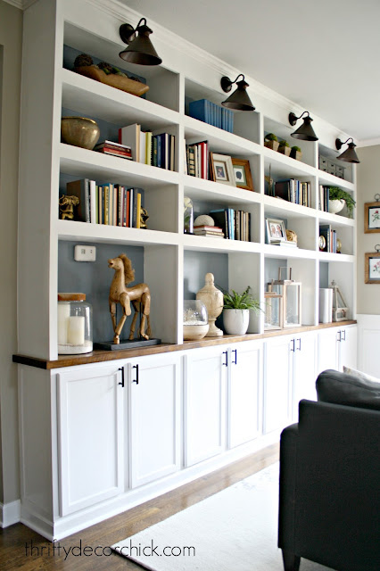 Wall of built in bookcases