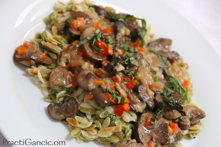 Wine Braised Mushrooms with Orzo Pasta