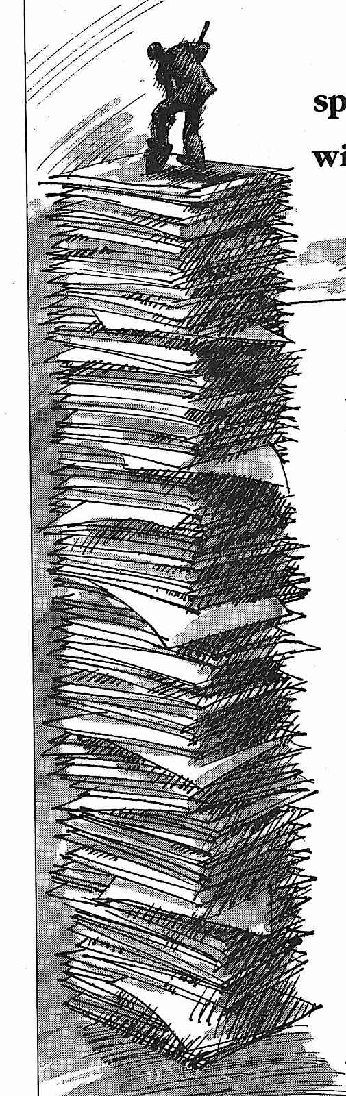 a 1986 illustration about office workload, a giant stack of paper