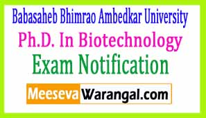 Babasaheb Bhimrao Ambedkar University Ph.D. In Biotechnology Viva-Voce 2017 Exam Notice