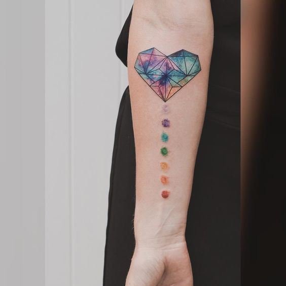 Galaxy and Chakra Tattoo on Hand