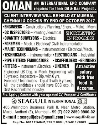 Jobs in Oman | Client Interview in Mumbai Chennai and Kochi | Seagull International