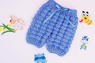 2 - Majovel crochet Pantalones crochet a juego con la chambrita a relieve