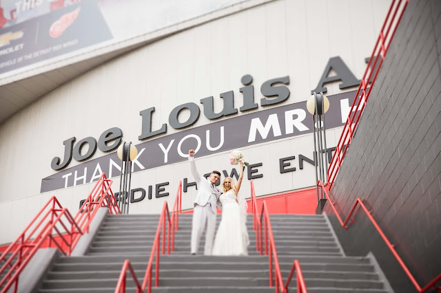Bride and Groom at Joe Louis wedding photos