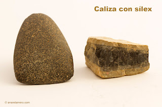Limestone with flint (axe made by Stoneage people)