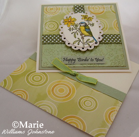 Happy Birthday handmade card design spring green bird theme