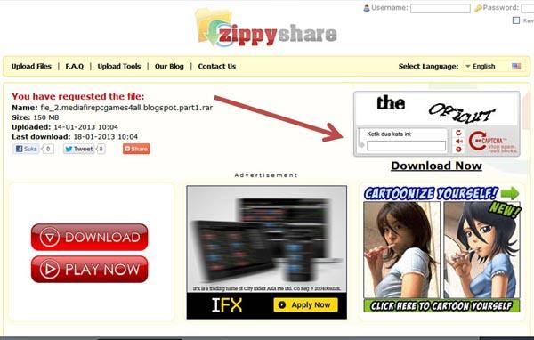 Cara Download di Zippyshare - PakdheGames