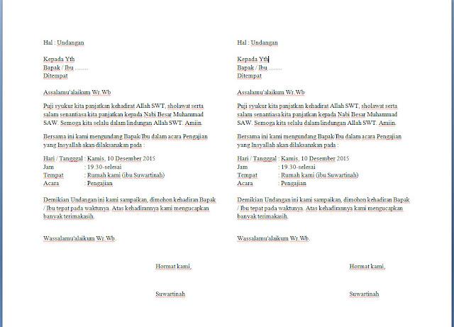 contoh undangan pengajian keluarga dua kolom dengan microsoft word