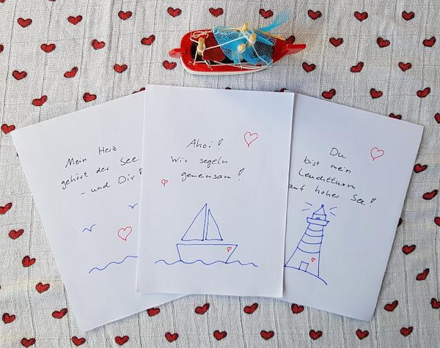 """DIY: Maritime Valentinstagkarten - einfach und von Herzen! Ich zeige Euch auf Küstenkidsunterwegs, wie Ihr schnell und einfach auch noch """"last minute"""" süße Karten für den Valentinstag oder einen lieben Gruß mit schönen maritimen Motiven bastelt. Auch Kinder können gut beim Basteln mithelfen!"""
