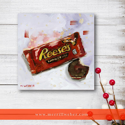 Peanut Butter Cups candy food oil painting by Merrill Weber