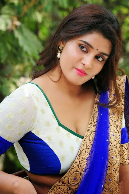Latest Telugu Actress Harini Beautiful Blue Saree Photoshoot