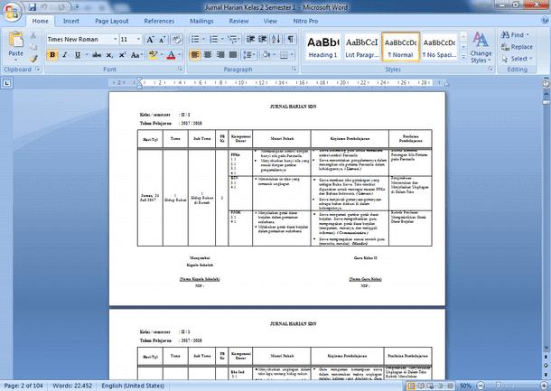 Contoh Jurnal Harian SD Kelas 2 Semester 1 Kurikulum 2013