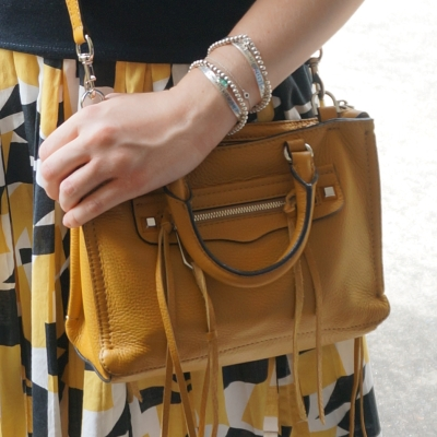 pleated mustard print skirt, Rebecca Minkoff micro Regan satchel in Harvest Gold | AwayFromTheBlue