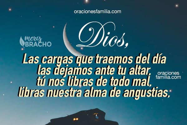 Oración cristiana de la noche, frases antes de dormir bien y tranquilo, oraciones para la familia antes de dormir por Mery Bracho con imágenes cristianas.