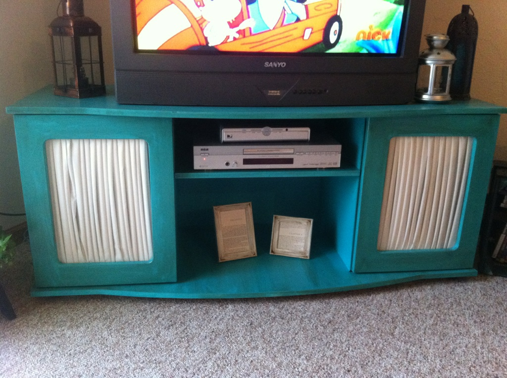 Teal Painted Laminate TV Stand