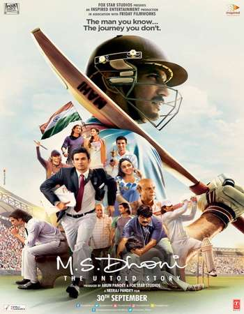 Poster Of M.S. Dhoni The Untold Story 2016 Hindi 500MB HDRip 480p ESubs Watch Online Free Download downloadhub.net