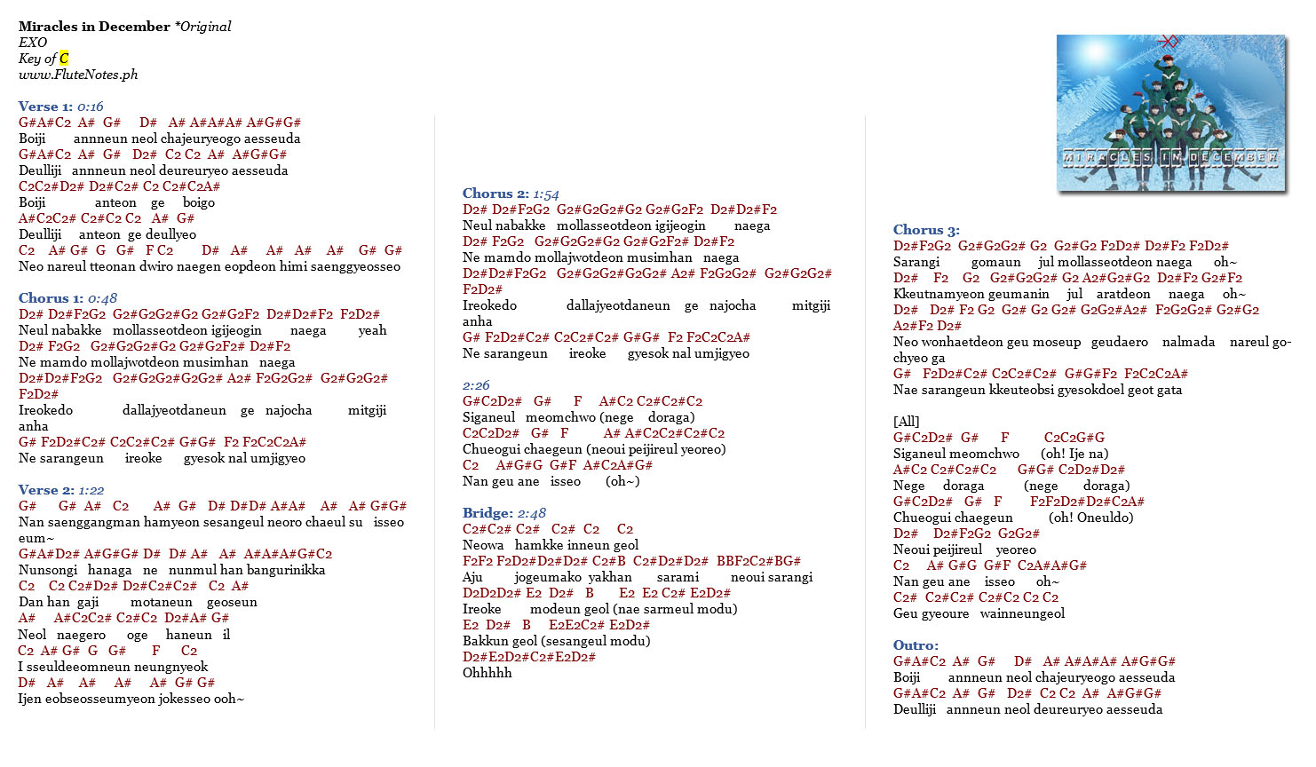 Miracles in December EXO Original Notes