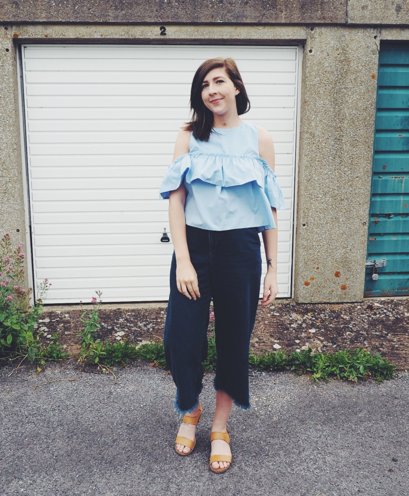 fbloggers, fashionbloggers, fashionpost, wiw, whatimwearing, asseenonme, zara, zarafrilltop, topshopculottes, denimculottes, primarksandals, ootd, outfitoftheday, lotd, lookoftheday