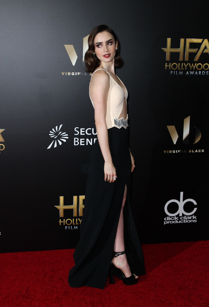 Lily Collins brings a touch of old Hollywood glamour to awards show