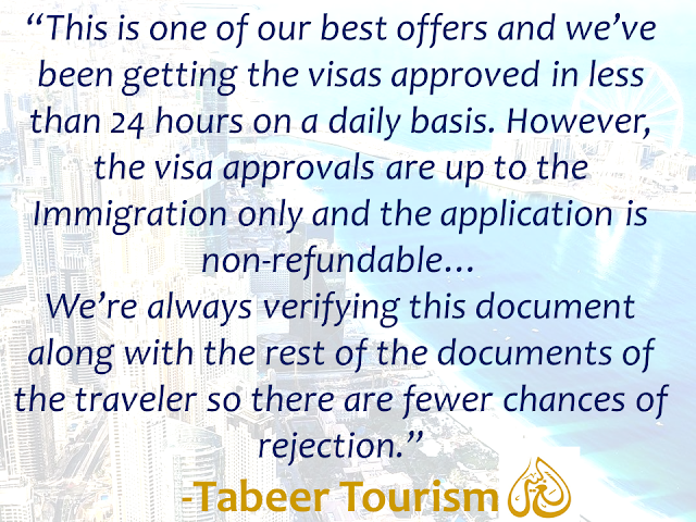 "The long queues, complicated documents and waiting just to get a visa in the UAE is now over.  In the United Arab Emirates, applying for a visa can be made in a flash. Applicants could even do it without visiting any travel agency.   UAE-based travel agency Tabeer Tourism allows you to apply for your visa in simpler steps regardless of your proximity.  All you need is that to have a UAE guarantor, who is a valid UAE resident visa holder who can be your friends or relatives, as long as he/she resides in the UAE which is one of the mandatory requirements for the visa application.  Advertisement        Sponsored Links   Any tourist wishing to visit UAE can apply for either a 30-day UAE visa or 90-day UAE visa. It can be of a single entry or multiple entries depending on the choice of the traveler. A visa for multiple entries allows the traveler to enter UAE multiple times within the span of a month or 3 months.     ""This is one of our best offers and we've been getting the visas approved in less than 24 hours on a daily basis. However, the visa approvals are up to the Immigration only and the application is non-refundable,"" said the travel agency. ""We're always verifying this document along with the rest of the documents of the traveler so there are fewer chances of rejection,"" it added.    Requirements:   • Six months or more valid passport.  • A clear passport sized photograph with white background.  • A UAE guarantor. (Guarantor documents – Passport, Emirates ID)    Under the agency's system, visitors don't need to physically visit them to submit their visa application. Instead, they can just follow three simple steps, and their work is done. Though, it is highly advised to always apply for the visa prior to booking of flights and hotel accommodations.      Step 1: Contact Tabeer Tourism at its toll-free number (800 TABEER 822337).  Step 2: Confirm your dates of travel and submit the required documents to the consultant via email.  Step 3: Get your visa approved within a day.    In cases where there are children traveling along, travelers must also submit the child's birth certificate, passport copy, and photograph and the parent's passport pages along with their documents.    Tabeer Tourism even allows visitors to renew their visa if it's close to expiration or if the traveler is from a canceled UAE residence or employment visa and doesn't want to fly back home.    Any UAE tourist visa allows travelers to enter from any valid entry points of the country through the Immigration channels and permits smooth flow of travel within all the seven emirates of the country.  READ MORE: Can A Family Of Five Survive With P10K Income In A Month?    How Filipinos Can Get Free Oman Visa?    Do You Know The Effects Of Too Much Bad News To Your Body?    Authorized Travel Agency To Process Temporary Visa Bound to South Korea    Who Can Skip Online Appointment And Use The DFA Courtesy Lane For Passport Processing?    ©2018 THOUGHTSKOTO"