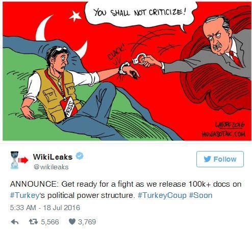 Τα WikiLeaks «απειλούν» τον Ερντογάν με αποκαλύψεις
