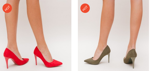 Pantofi moderni rosii, verzi cu toc inalt din piele eco intoarsa eleganti