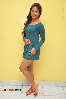 Telugu Actress Prasanthi Stills in Green Short Dress at Swachh Hyderabad Cricket Press Meet  0136.JPG