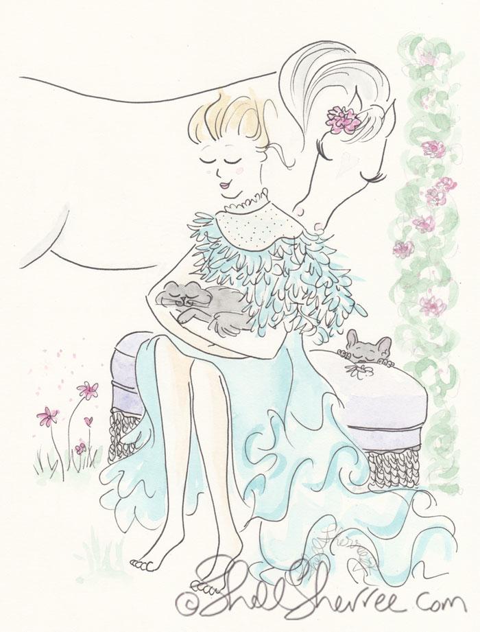 Fashion & Fluffballs Illustration : Fuzzy Muzzle Nuzzle and Aqua Fluffiness © Shell-Sherree
