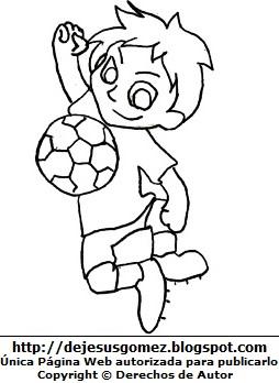 Dibujo de un niño jugando con la pelota para colorear pintar imprimir. Dibujo de un niño hecho por Jesus Gómez