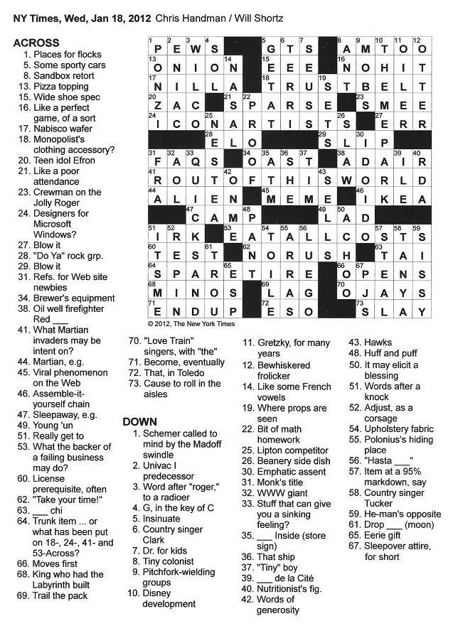 The New York Times Crossword in Gothic: 01.18.12 — Spare Tire