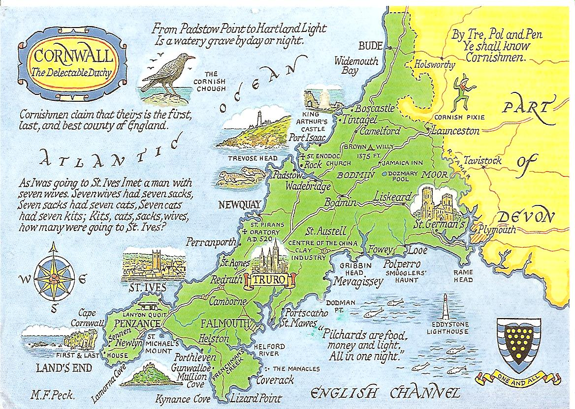 My Postcard Page Great Britain Cornwall Map