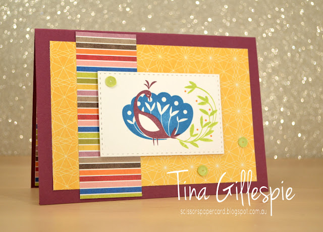 scissorspapercard, Stampin' Up!, Sale-A-Bration, Beautiful Peacock, Birthday Memories DSP