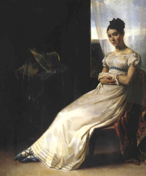 regency era girl with blue lace-up shoes