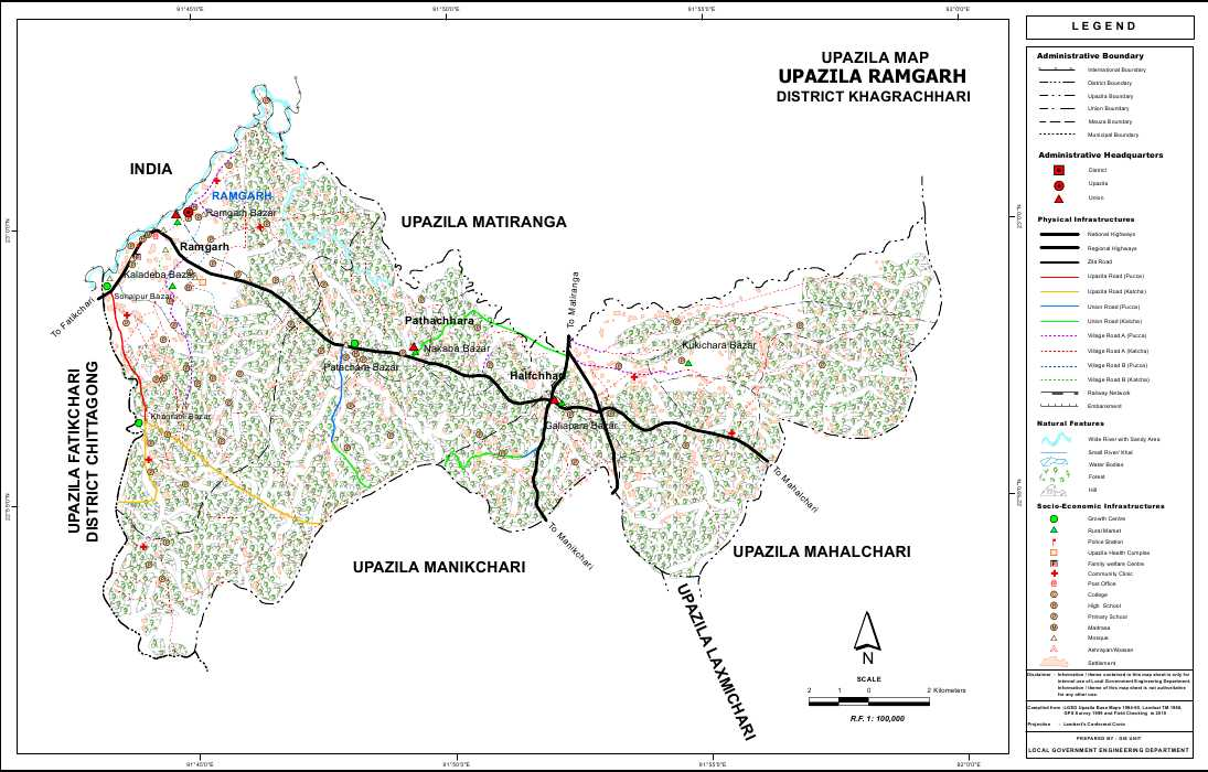 Ramgarh Upazila Map Khagrachari District Bangladesh