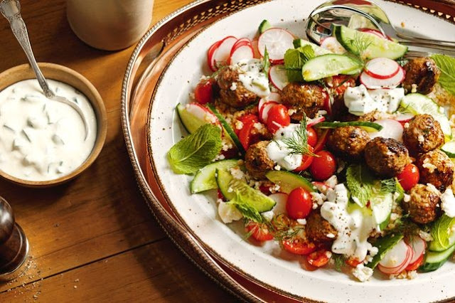 style salad that packs big flavour into every bite Greek lamb meatball salad recipe