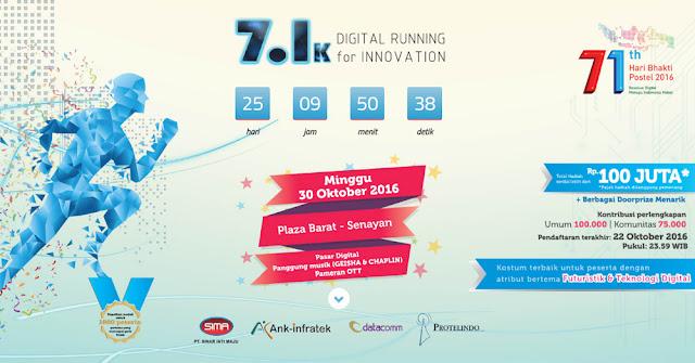 7.1K Digital Running for Innovation 2016 Jakarta hari bhakti postel plaza senayan