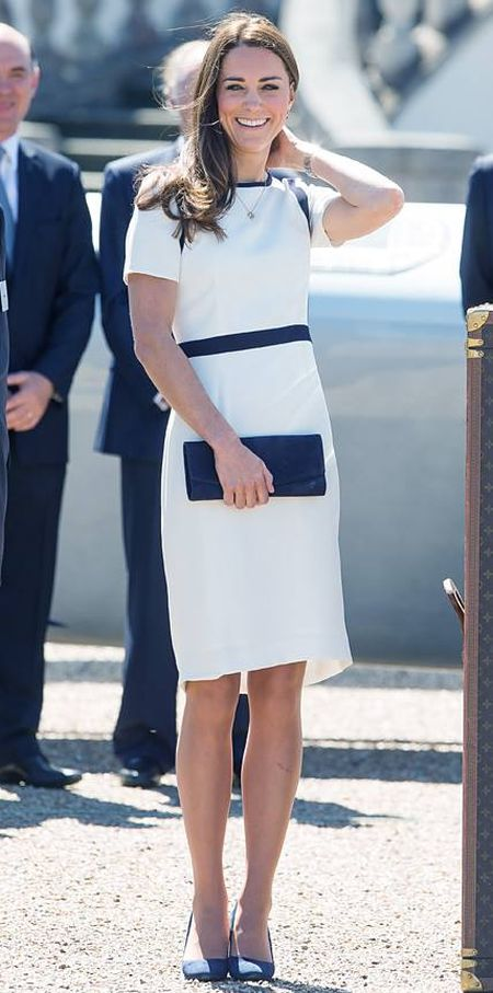 Catherine Middleton in a soft white and navy Jaeger dress, June 2014