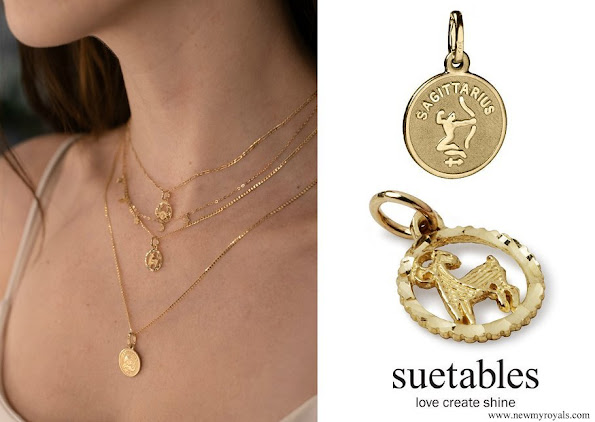 Meghan Markle wore Suetables Vanessa Gold Zodiac Horoscope Charm Necklace and Shirley Horoscope Pendant Necklace