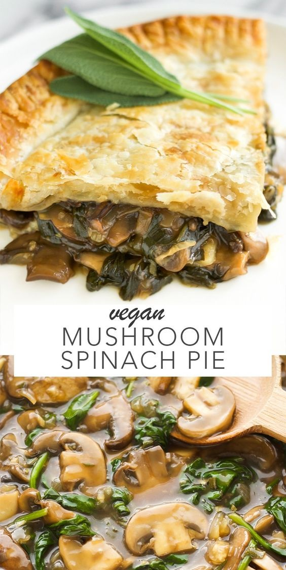 Vegan Mushroom Spinach Pie