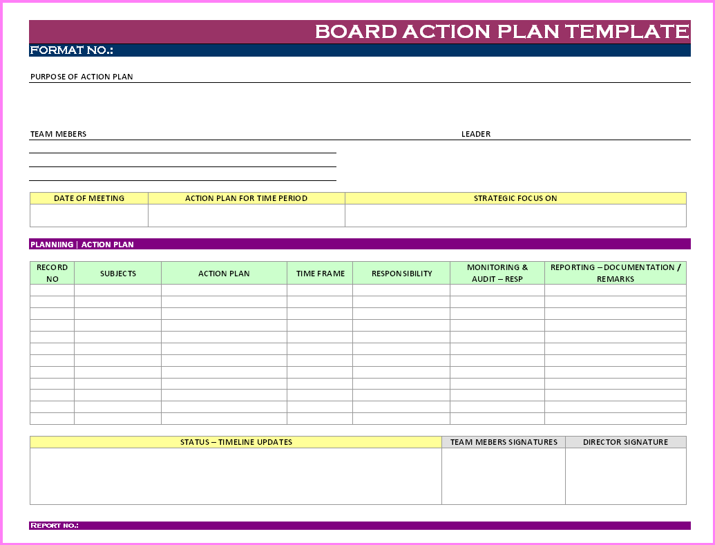 Action Plan Templates Free – Action Plan Templates Excel