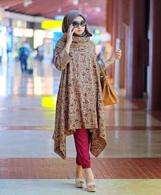 Baju kurung casual hijab motif batik bawahan celana