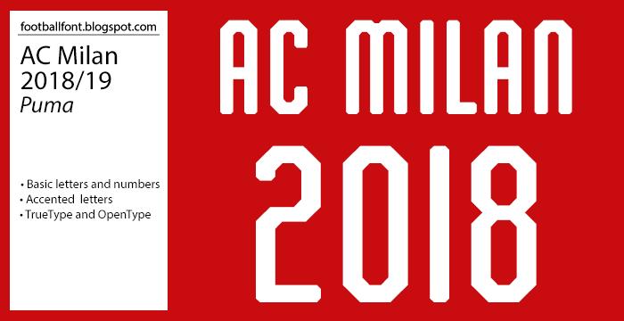 Football Fonts: AC Milan 2018/2019 Season Jersey Font