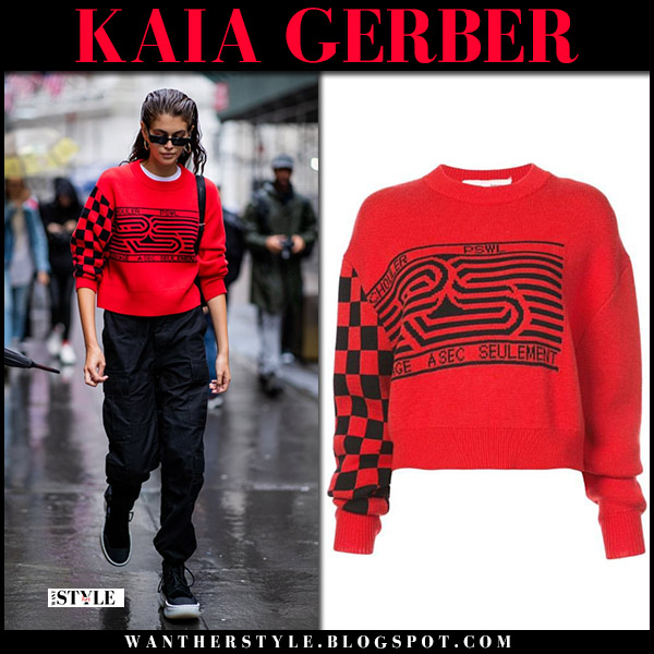 Kaia Gerber in red sweater and black pants model style fashion week september 11