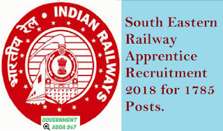 South Eastern Railway Apprentice Recruitment 2018 for 1785 Posts.