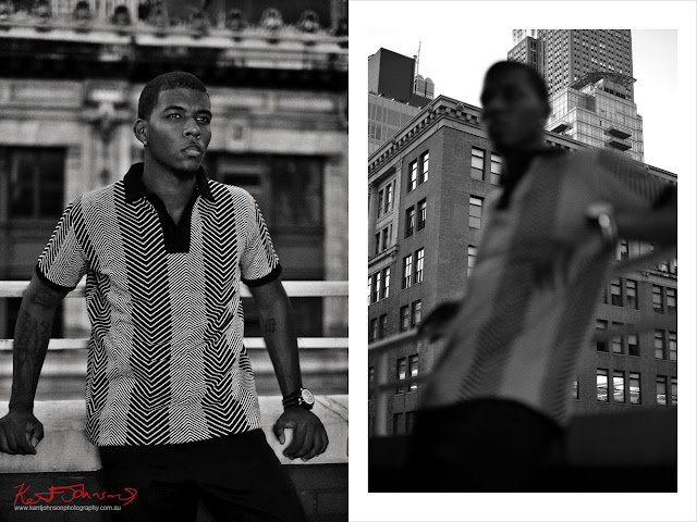 Terrace balcony Manhattan - Menswear photoshoot at at The Roger Hotel NYC in black and white for fashion label Mario&Lee. Photography by Kent Johnson.