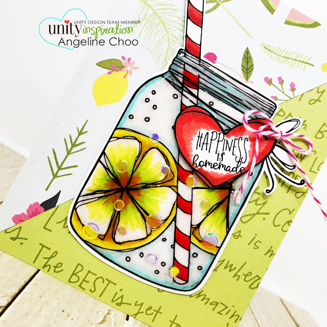 ScrappyScrappy: [NEW VIDEOS] Summer release with Unity Stamp - Happiness is Homemade #scrappyscrappy #unitystampco #quicktipvideo #youtube #happinessishomemade #lemonade #masonjar #nuvocrystalglaze #confettimix #summer #copicmarkers #trendytwine
