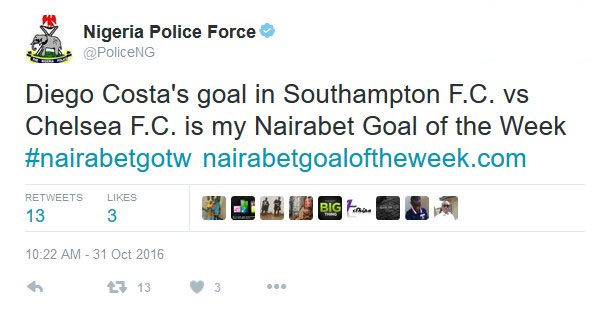 SMH. Official Nigerian Police Force Twitter handle actually wrote this?