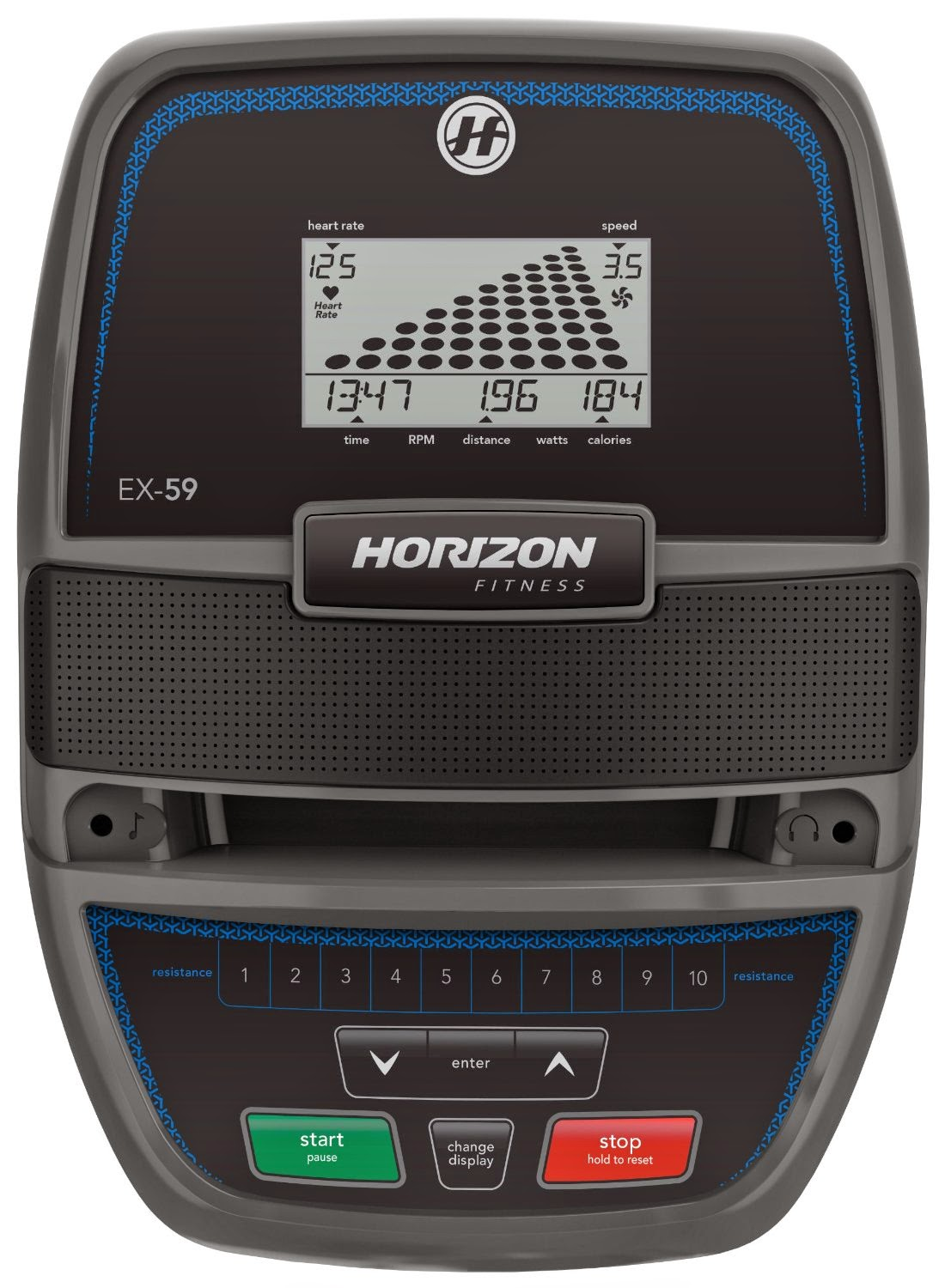 "Horizon Fitness EX 59 2 Console, difference between EX 59 2 and EX 69 2, 5"" LCD screen"